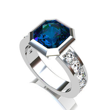 2.44ct London blue Topaz engagement ring, emerald cut, white Sapphire, Engagement ring, Sapphire engagement, Bezel, topaz engagement, unique