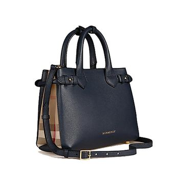 Tote Bag Handbag Authentic Burberrry The Small Banner in Leather and House Check Ink Blue Item 39830411 Made in Italy