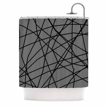 "Trebam ""Paucina v2"" Gray Black Shower Curtain"
