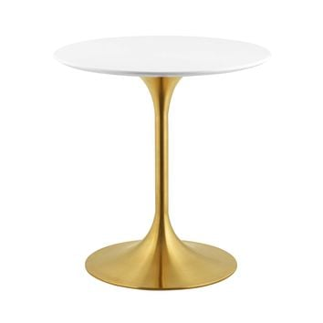 "Lippa 28"" Round Dining Table Gold White EEI-3208-GLD-WHI"