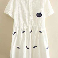 Kawaii Cat Embroidery Lapel Short Sleeve Casual Dress