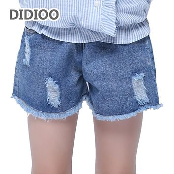 Girls Shorts Elastic Waist Ripped Jeans Summer Children Denim Shorts For Kids Clothes  Hot Pants