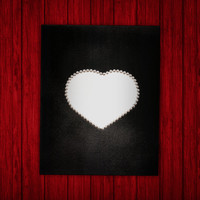 Pearl Heart Canvas - Silhouette - Black - White - Metallic - Painting - Custom