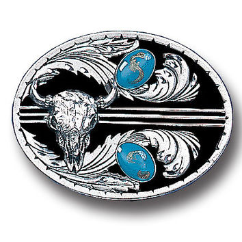 Turquoise Stones with Buffalo Skull (Diamond Cut) Enameled Belt Buckle