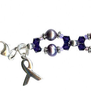 Domestic Abuse Purple Velvet Twist Awareness Beaded Bracelet