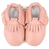 Baby Leather Moccasins, Pink