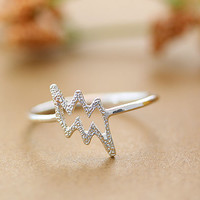 Lightning Bolt Ring Funny Ring 7.5 US Size Gold Silver Plated Jewelry gift idea