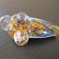 "Unique colors handmade 3.5"" long solid glass bowl smoking free spirit"