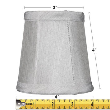 0-008494>3x4x4 Gray Stretch Clip-On Candlelabra Clip-On Lamp shade