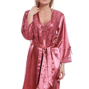 STYLEDOME Long Satin Kimono Lace Trim Nightgown Soft Pajamas