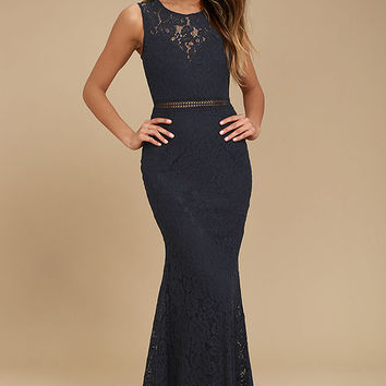 Music of the Heart Navy Blue Lace Maxi Dress