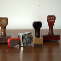 Vintage Rubber Stamps / Industrial Office Supplies /