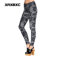 1479 Sexy Girl leggins Spellbound scrawl witchcraft Printed Polyester Elastic Slim Fit Fitness Women Leggings Pants Trousers