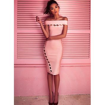 Amalea Blush Off Shoulder Bandage Cut Out Dress