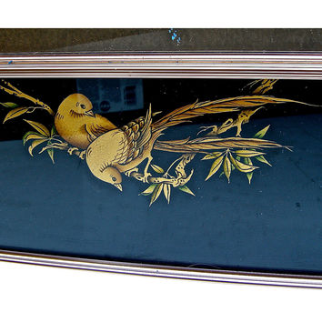 Chinoiserie Painted Glass Mirror