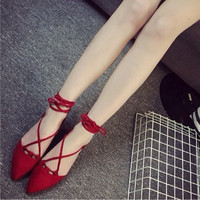 Sexy Crisscross Knotted Nude Shoes