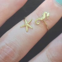 Double Wrap Starfish Ring- Starfish Midi above the knuckle ring-Duo Knuckle Rings Gold Brass-