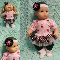"15 inch Baby Doll ""Lotsa Lady Bugs "" doll outfit Will fit Bitty Baby® Bitty Twins®  dress shorts socks headband H12"