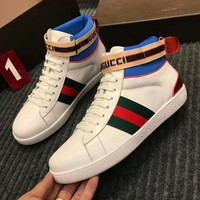 GUCCI 2018 autumn and winter new high-quality trend high-top casual lace-up shoes white