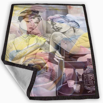 Audrey Hepburn and Marilyn Monroe Tattooed Blanket for Kids Blanket, Fleece Blanket Cute and Awesome Blanket for your bedding, Blanket fleece **