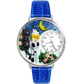 Cats Night Out Watch in Silver (Large)