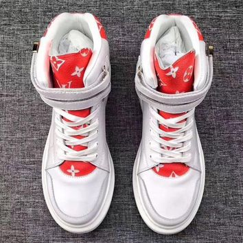 LV High Tops Double Velcro Monogram Canvas Women Shoes Boots White(red shoes tongue)
