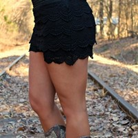 Junior Plus Size Gum Drop Lace Shorts in black