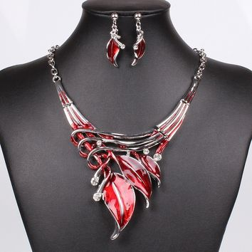 Jewelry Sets Purple Enamel Jewelry statement Necklace And Earring Set Crystal Jewelry Set Fashion Leaves