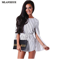 2016 Summer New Women's Fashion Split Ends Long Sleeve Classic Round Neck Leisure Wild Conjoined Women's Shorts Striped Jumpsuit