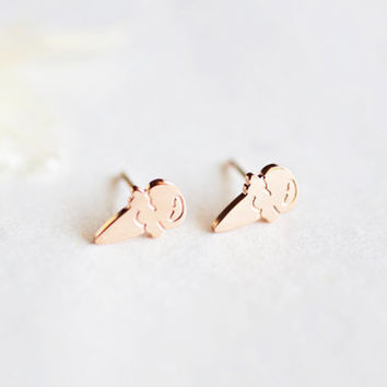Ice Cone stud earrings - rose gold titanium