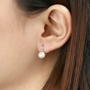 925 sterling silver earring 7-8mm Freshwater Pearl Dangle Drop Hook earring for Women By Sheng sheng
