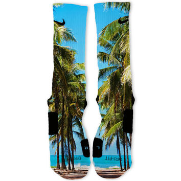 South Beach Custom Nike Elite Socks Miami Palm Trees