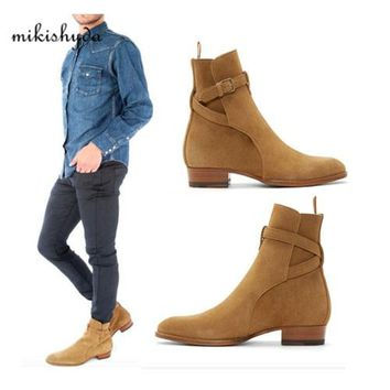 2016 Hot Men Suede Men Boots New Handmade Crepe Bottom Kanye West Boots Martin Shoes Nubuck Chelsea Boots Season Ankle Men Shoes
