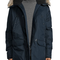 Snorkel Coat with Faux-Fur-Lined Hood, Navy, Size: