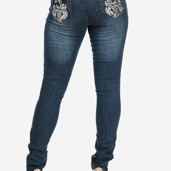 Skinny Jeans with Floral Embroidery On Back Pockets