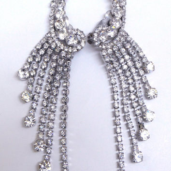 Verified, Juliana Rhinestone Dangle earrings.  Waterfall. Wedding, bridal