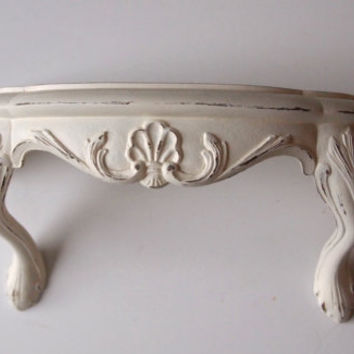 Wall Shelf Ornate Shabby Chic Vintage Clawfoot Painted Cottage White And Distressed French Paris Apartment