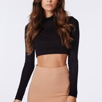 Missguided - Ponte Curve Hem Mini Skirt Nude