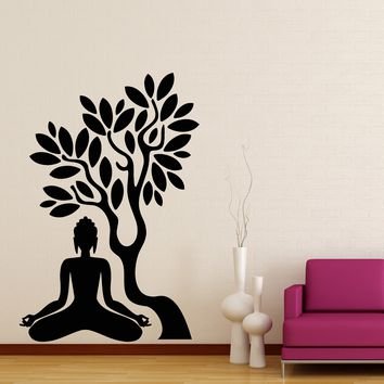 Wall Stickers Vinyl Decal Buddha Buddhism Tree Branch India Unique Gift (z2054)