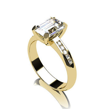 white topaz ring, Diamond, emerald cut, engagement ring, solitaire, white topaz engagement, micro pave, diamond ring, gold