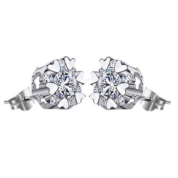 Heart-shaped 925 Silver Crystal Stud Earrings +Gift Box