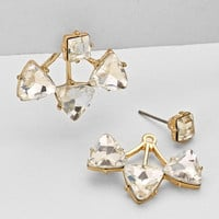 Double Sided Crystal Triangle Earrings Clear Gold