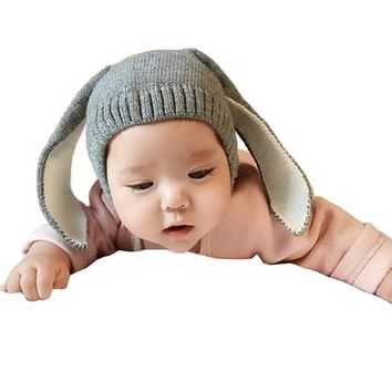 Way Be Live Baby Winter Warm Knit Hat Infant Toddler Kid Crochet Rabbit Ears Beanie Cap,Grey