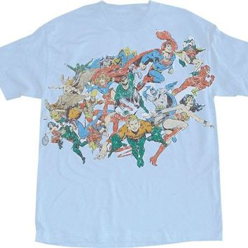 DC Comics Superheros Distressed T-shirt - DC Comics - | TV Store Online