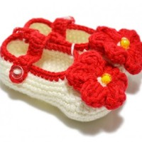 Buy Beautiful Off-white Crotchet Pattern Baby Booties With Red Flowers