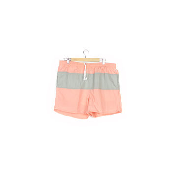 90s swim trunks / vintage 1990s / salmon pink / peach / gray / nylon / retro surfer / basic / swimsuit / short shorts / mens large 36 - 38