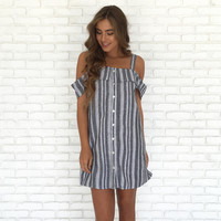 Hop On Board Off Shoulder Stripe Dress