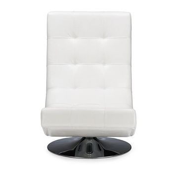 Baxton Studio Baxton Studio Elsa Modern and Contemporary White Faux Leather Upholstered Swivel Chair with Metal Base Set of 1