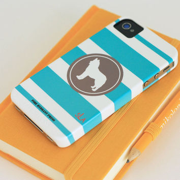 iPhone 4 and 4s Dog Silhouette Custom Phone Case Preppy Stripes