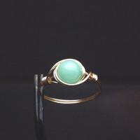 Aqua Jade Ring - unique ring - wire wrapped ring - bohemian jewelry - aqua ring